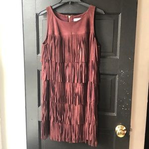 Olivia Palermo Suede Fringe Dress